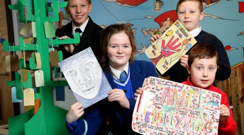 PRESS RELEASE IMAGE  Press Eye Ltd  Wednesday 18th November 2015 -  Photographer Darren Kidd  / Press Eye  Pictured are winners of the art category: (l-r) intermediate winner, Andrew Burleigh (12), Lisnagarvey High School, Lisburn; ásenior winner Meabh Kennedy (14), Assumption Grammar School, Ballynahinch; and junior joint winners: Cole McCabe (8), Jones Memorial Primary School, Enniskillen & Adam  Ferris (9), St AnneÕs Primary School, Finaghy, Belfast. ENDS// Winners of Anti-Bullying Week Creative Competition Announced Wednesday 18 November 2015, BelfastÑWinners of this yearÕs anti-bullying art, creative writing and movie competition were announced today at a special awards ceremony in Belfast (at RADAR, Northern IrelandÕs first fully interactive, safety and lifeskills education centre). The competition, which has attracted almost 3000 entries, provides a channel for individuals to tell a story or convey their views on how bullying should be tackled, and is an important part of this yearÕs Anti-Bullying Week (16-20 November 2015).Under the theme ÒWhat Bullying Means To MeÓ, the week-long campaign provides an opportunity to focus on our understanding of what bullying is all about.  Anti-Bullying Week is coordinated by the Northern Ireland Anti-Bullying Forum (NIABF) and supported by Translink.  NIABF is an interagency group hosted by the National Children's Bureau (NCB) NI and funded by the Department of Education.